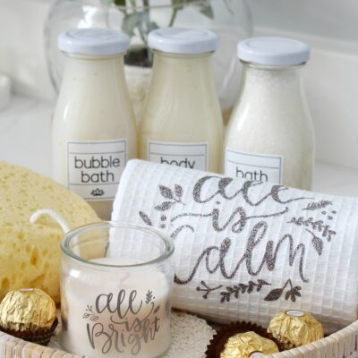 Beautiful DIY spa holiday gift basket with personalized towels and custom spa labels.