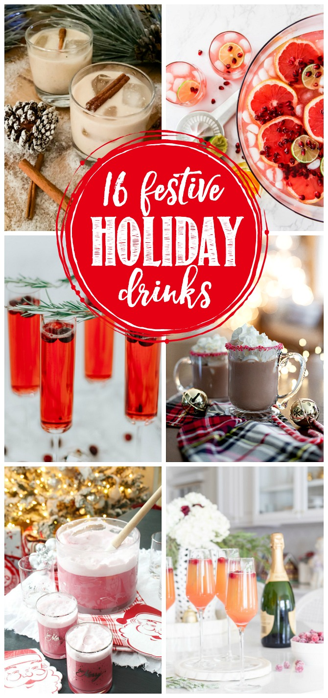 Delicious collection of festive holiday drinks.