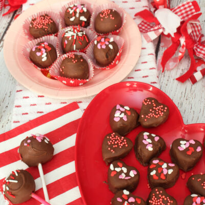 Valentine's Day Oreo truffles displayed for a Valentine's Day party.
