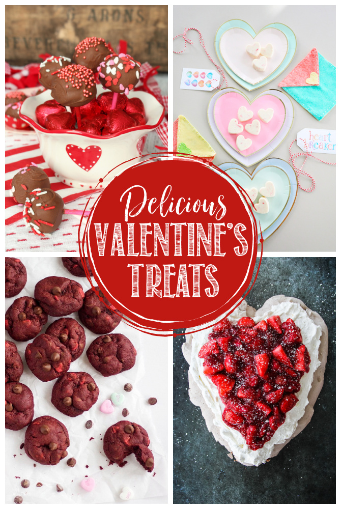 Collage of delicious Valentine's Day treats.