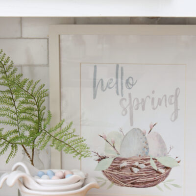 Hello Spring free spring printable with watercolor nest.