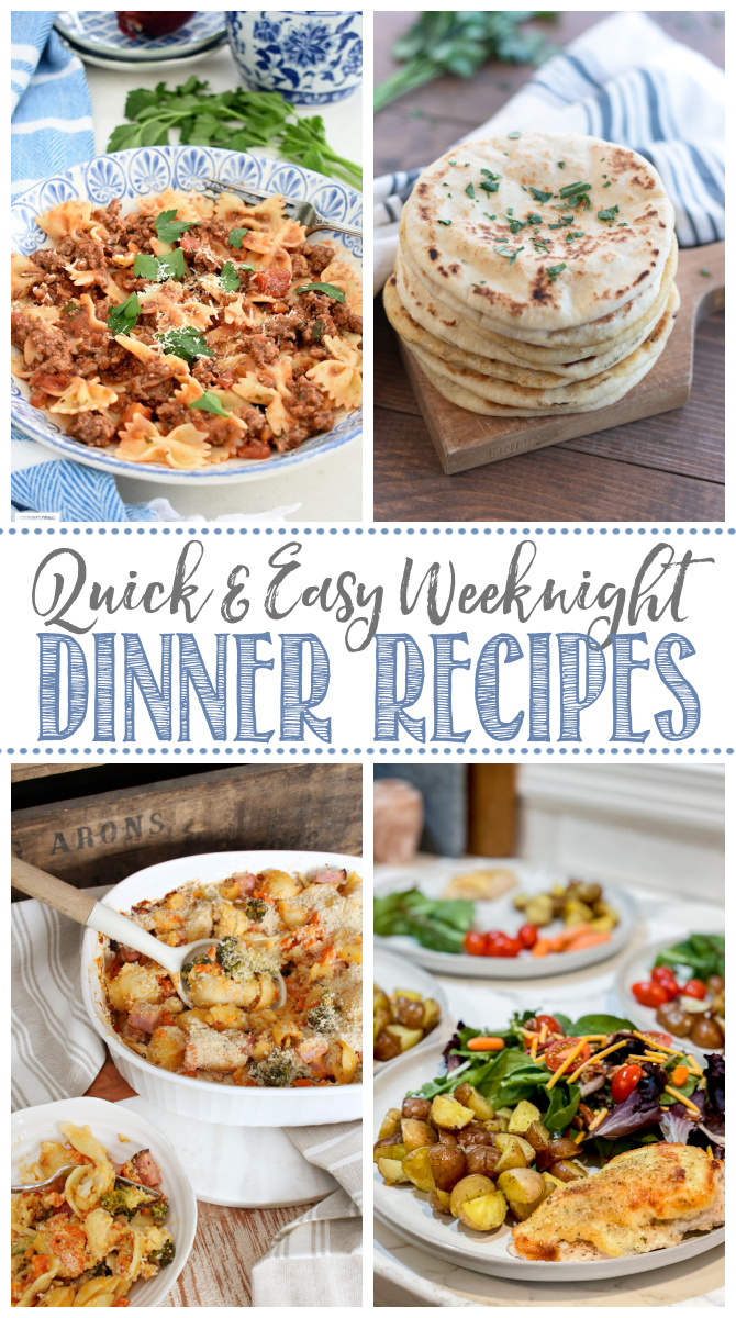 Collage of quick and easy weeknight dinner recipes.
