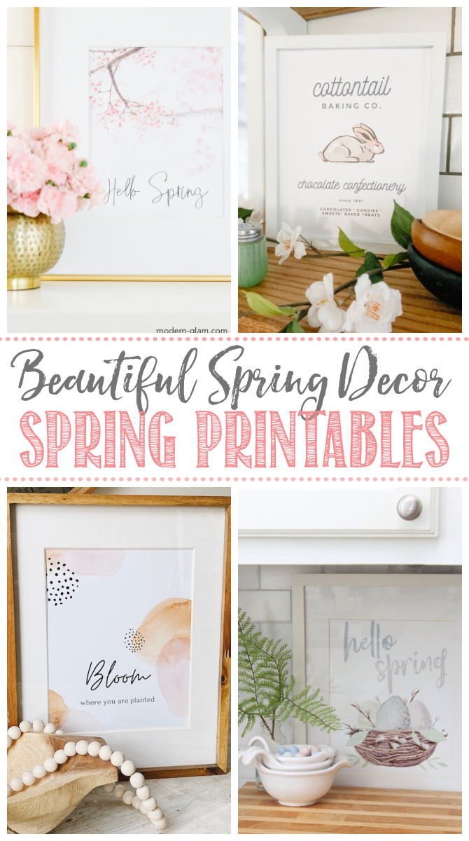Collage of beautiful spring printables and spring decor ideas.