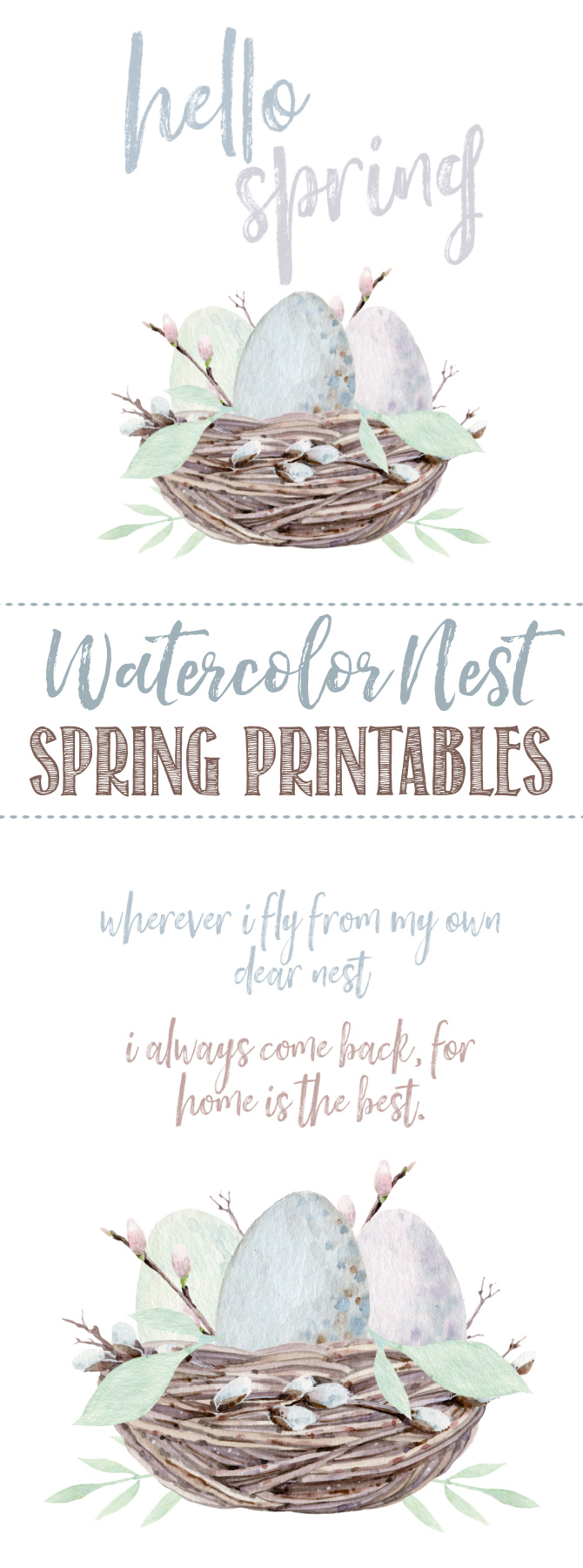 Collection of free spring printables with watercolor nest.