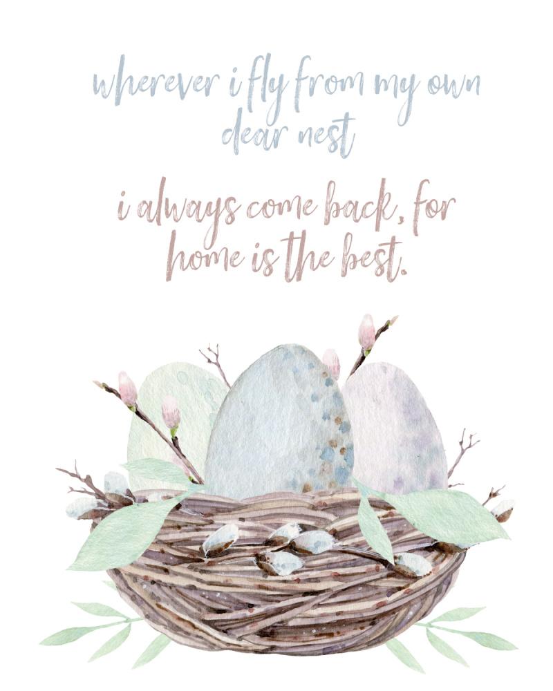Watercolor bird's nest free spring printable.