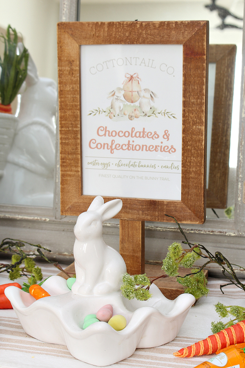 Chocolates and Confectioneries free Easter printable with Easter bunnies.
