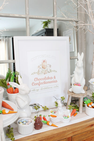 Cottontail Co. Chocolates and Confectioneries free Easter printable with bunnies and Easter candies.