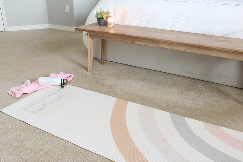 """Breathe in calmness, breathe out stress"" DIY custom yoga mat."