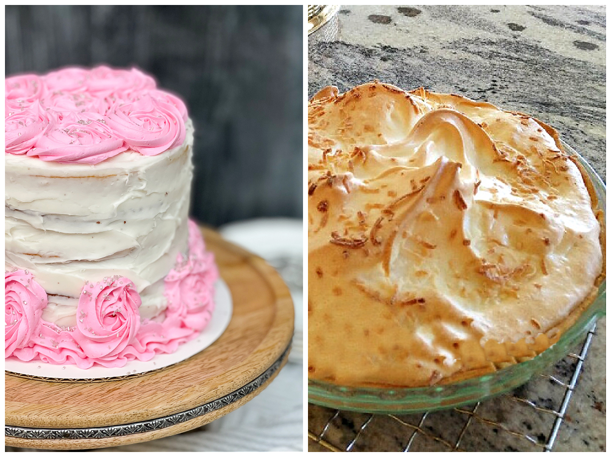Pretty DIY frosted birthday cake and an easy coconut pie.