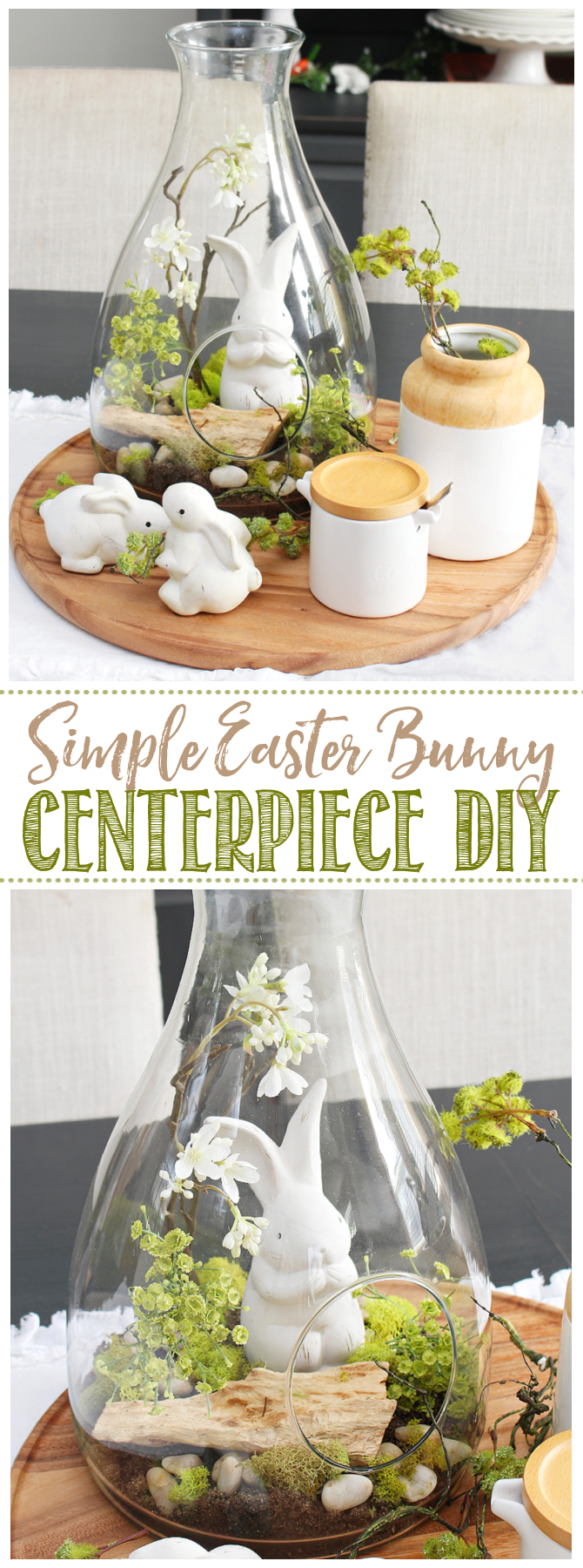 Cute Easter bunny Easter centerpiece DIY on wood tray.