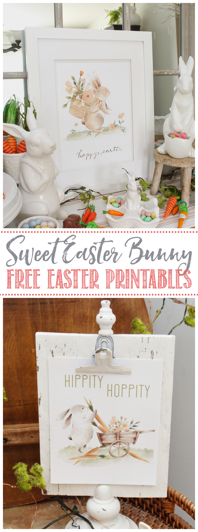 Sweet Easter bunny printables displayed in Easter vignettes.