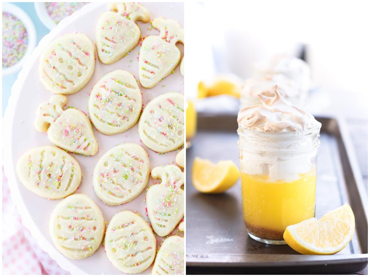 Easter shortbread cookies and lemon meringue in a mason jar.