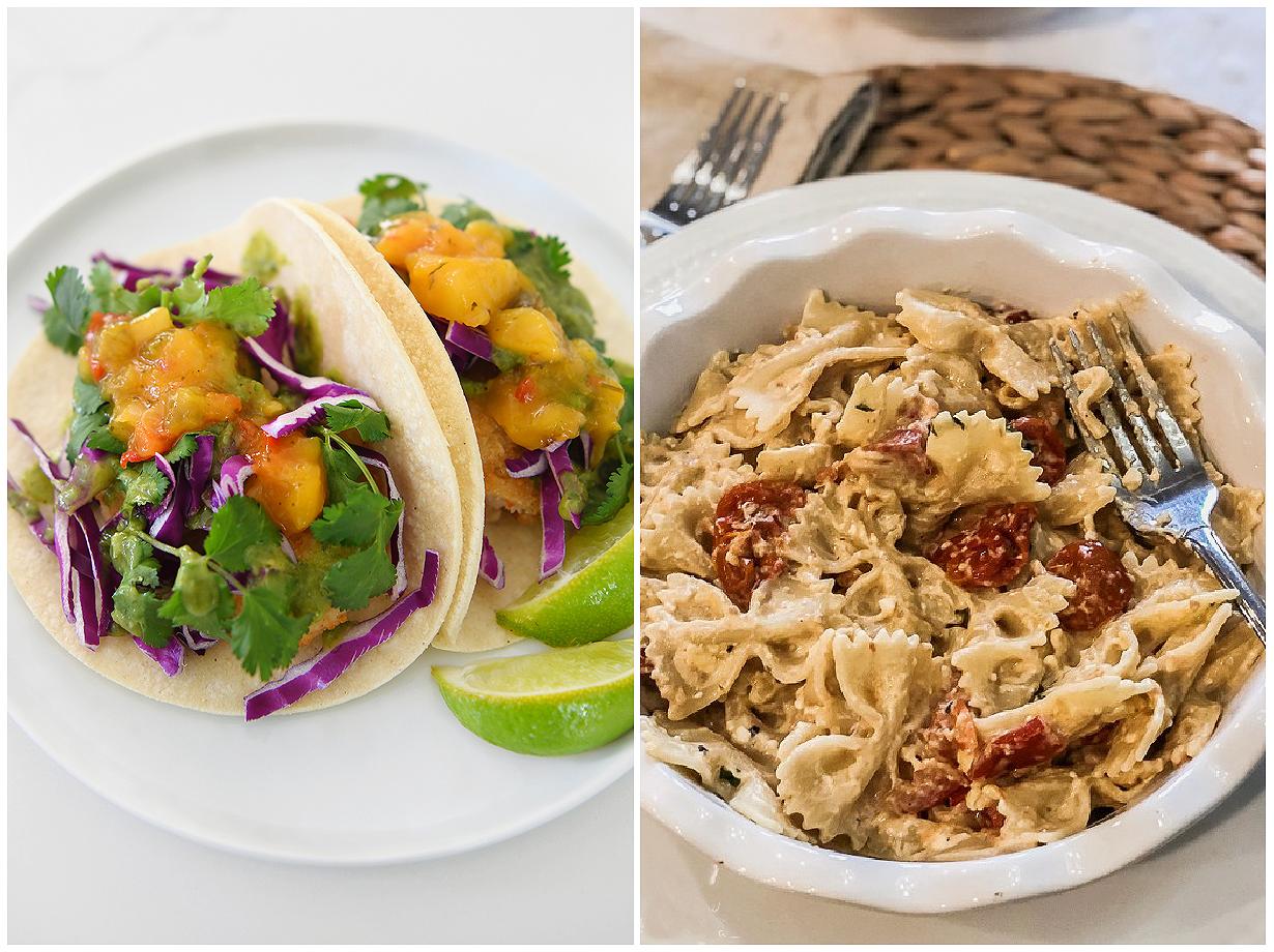 Shrimp tacos and a tomato feta bake.