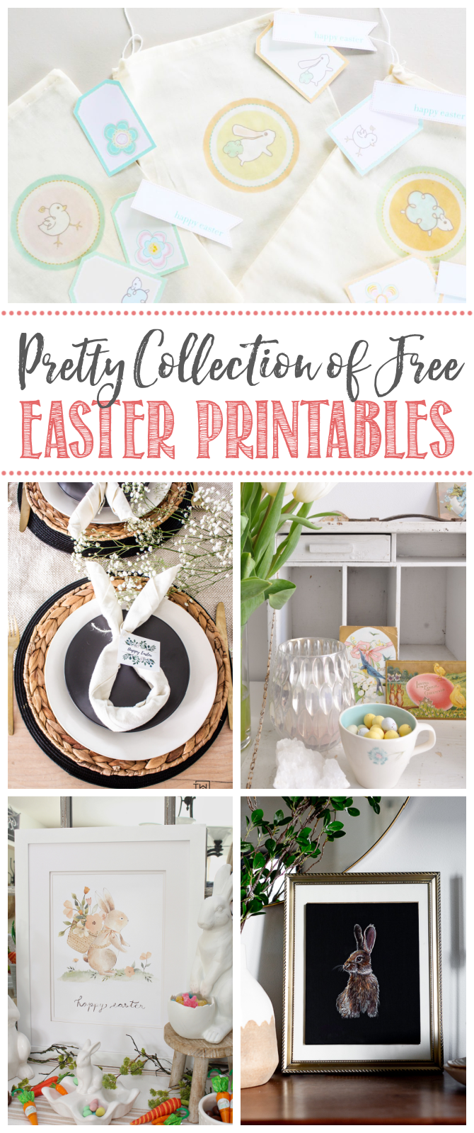 Collage of beautiful free Easter printables.