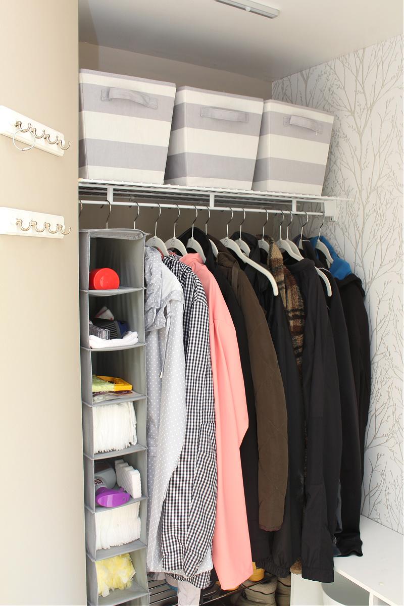 Organized small closet space.