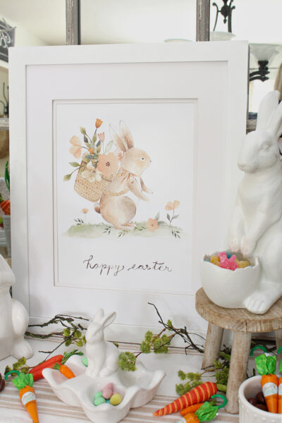 Sweet Easter bunny printable with muted pastel colors.