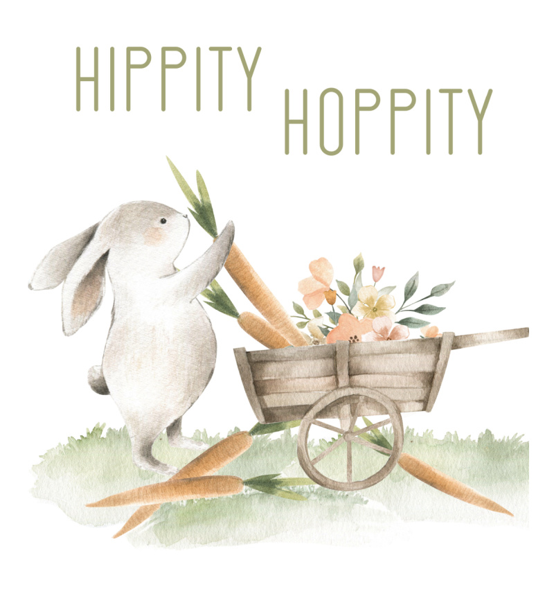Hippity Hoppity free Easter bunny print with bunny and a wagon of carrots.