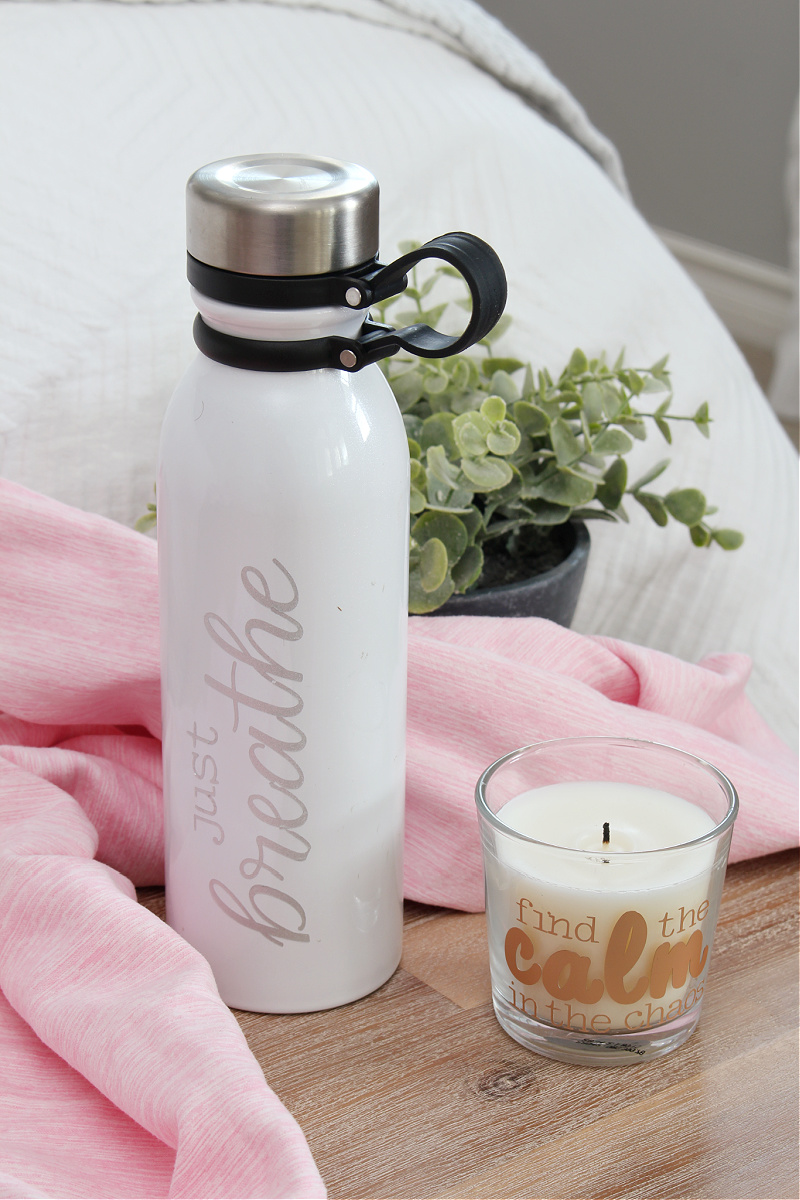 Just breathe custom DIY water bottle with pink workout towel.