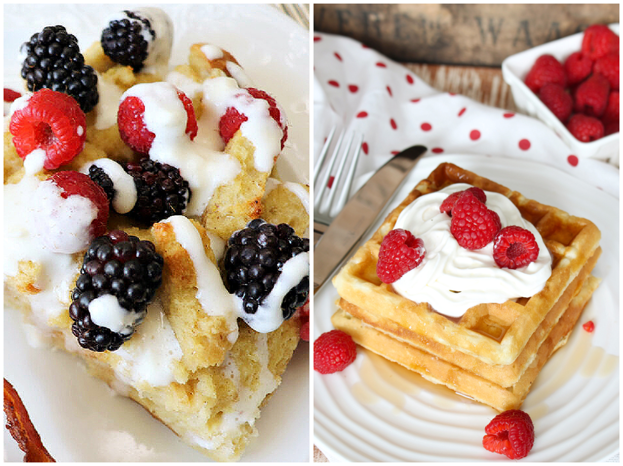 Light and fluffy waffles and a french toast bake with cream cheese drizzle.