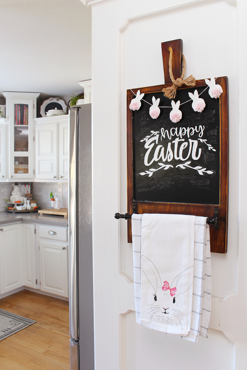 Happy Easter chalkboard with mini bunny bunting.