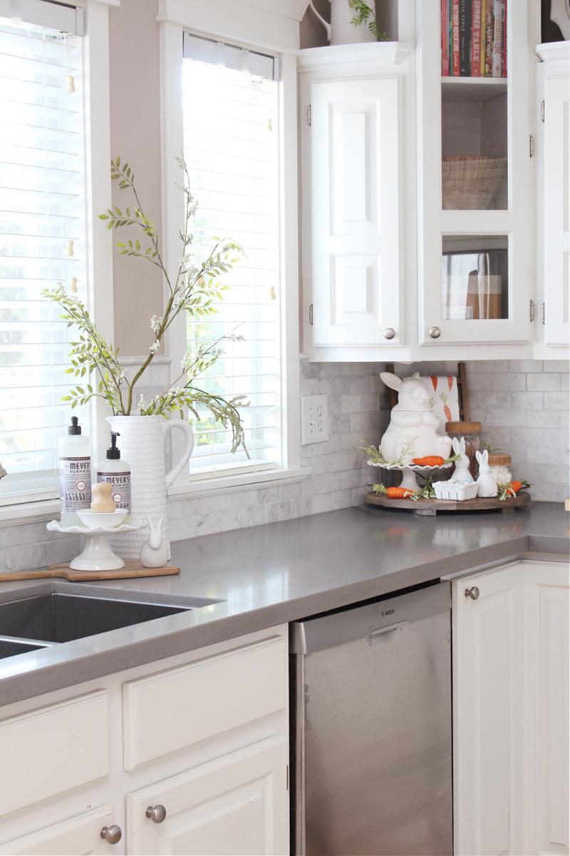 Beautiful spring kitchen decor in a white kitchen.