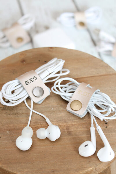 DIY cord organizers with snap fasteners.