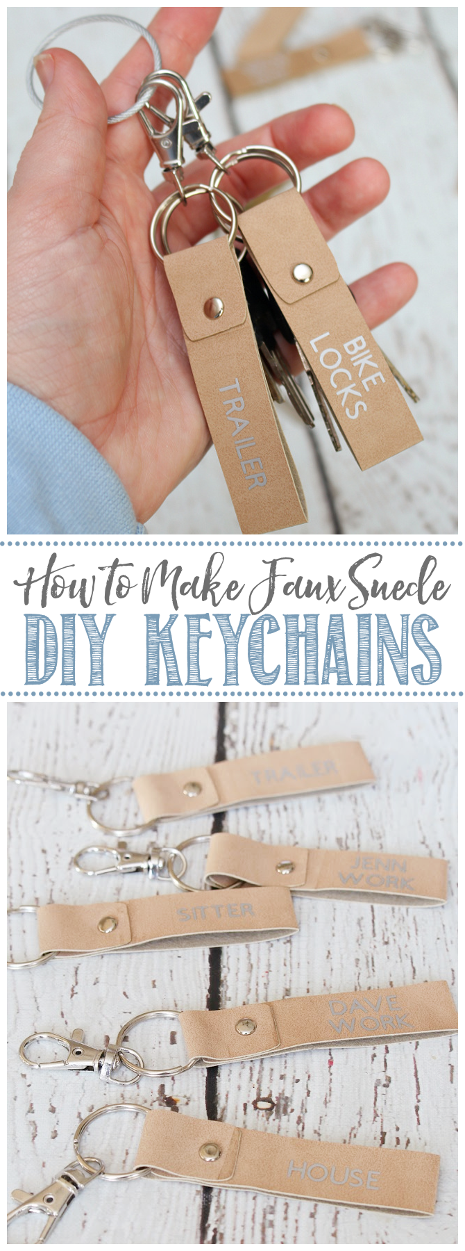 DIY keychains using faux leather and iron-on vinyl.