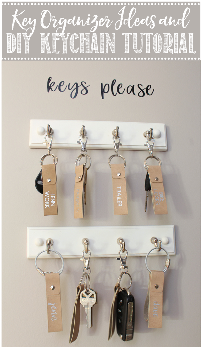 Simple key organizer in a front entry closet.