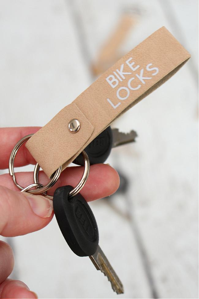 Faux suede DIY keychain.