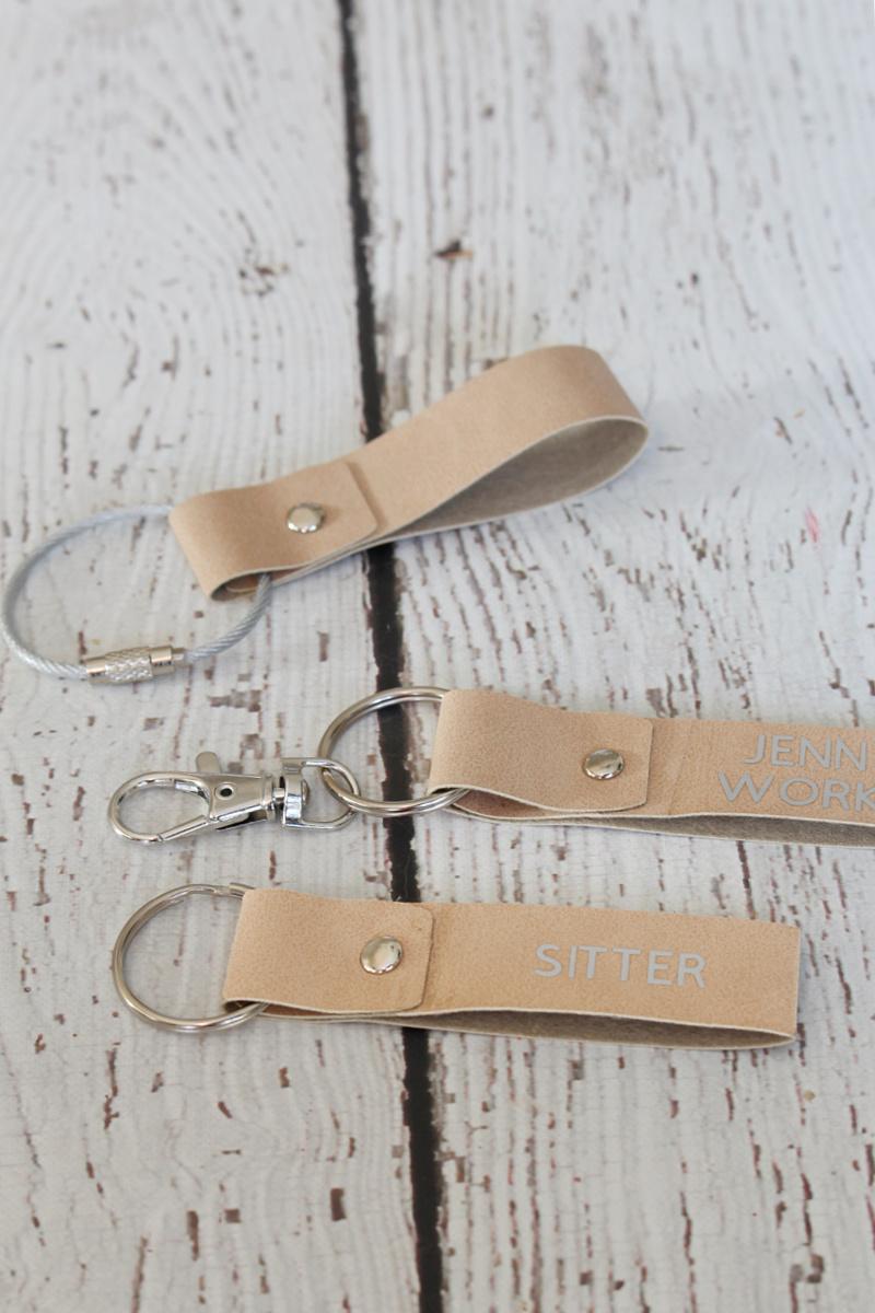 DIY faux suede custom keychains.