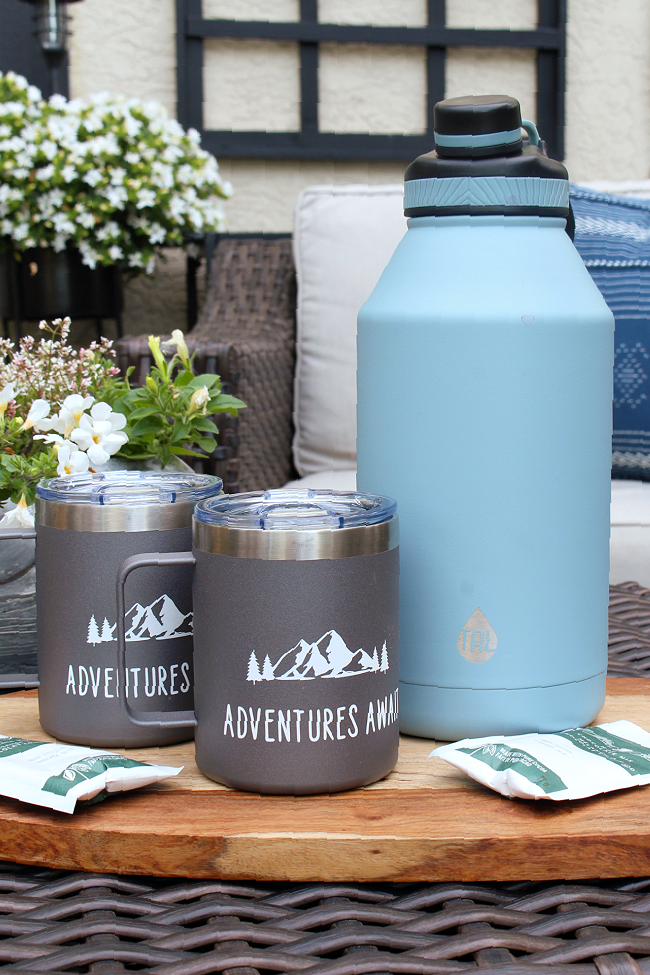 Personalized camping mugs for a hot chocolate camping gift basket.