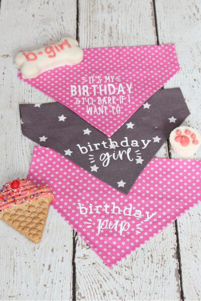 Pink and grey DIY pet bandanas with birthday greetings.