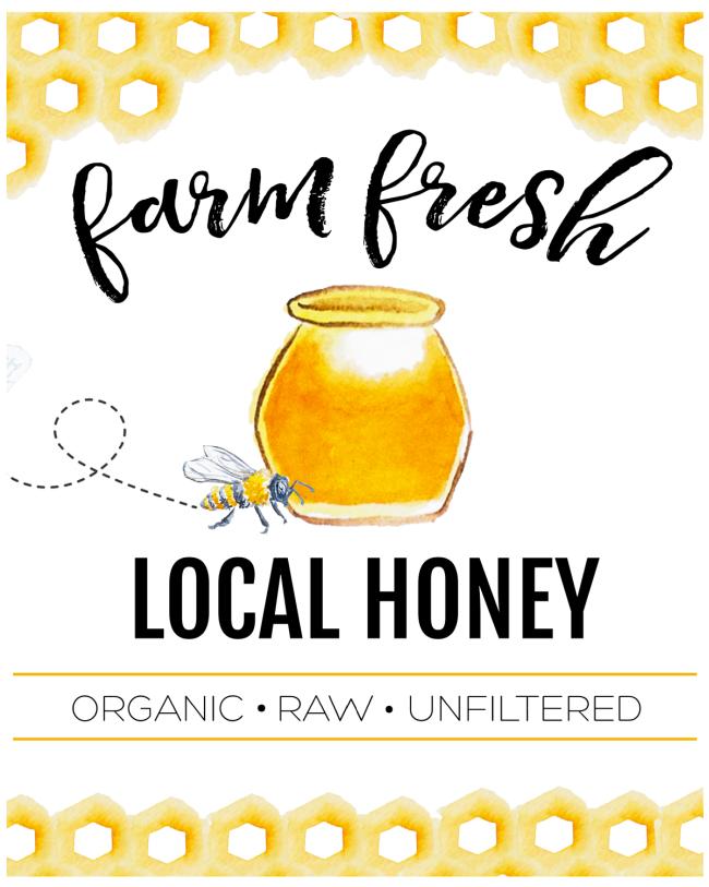Farm Fresh Local Honey printable in a white frame.