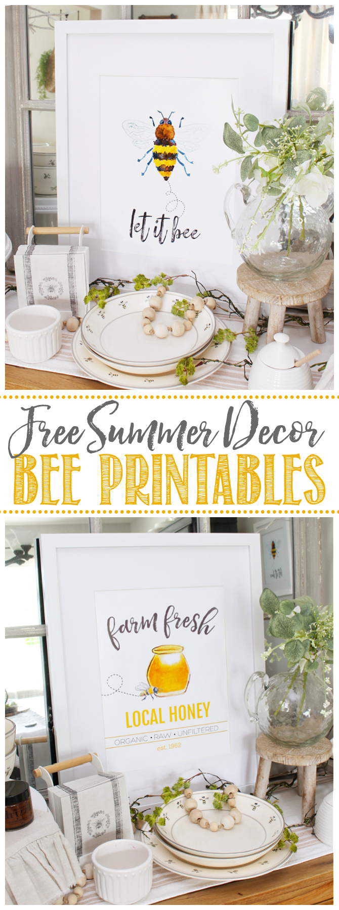 Collection of free bee decor printables.