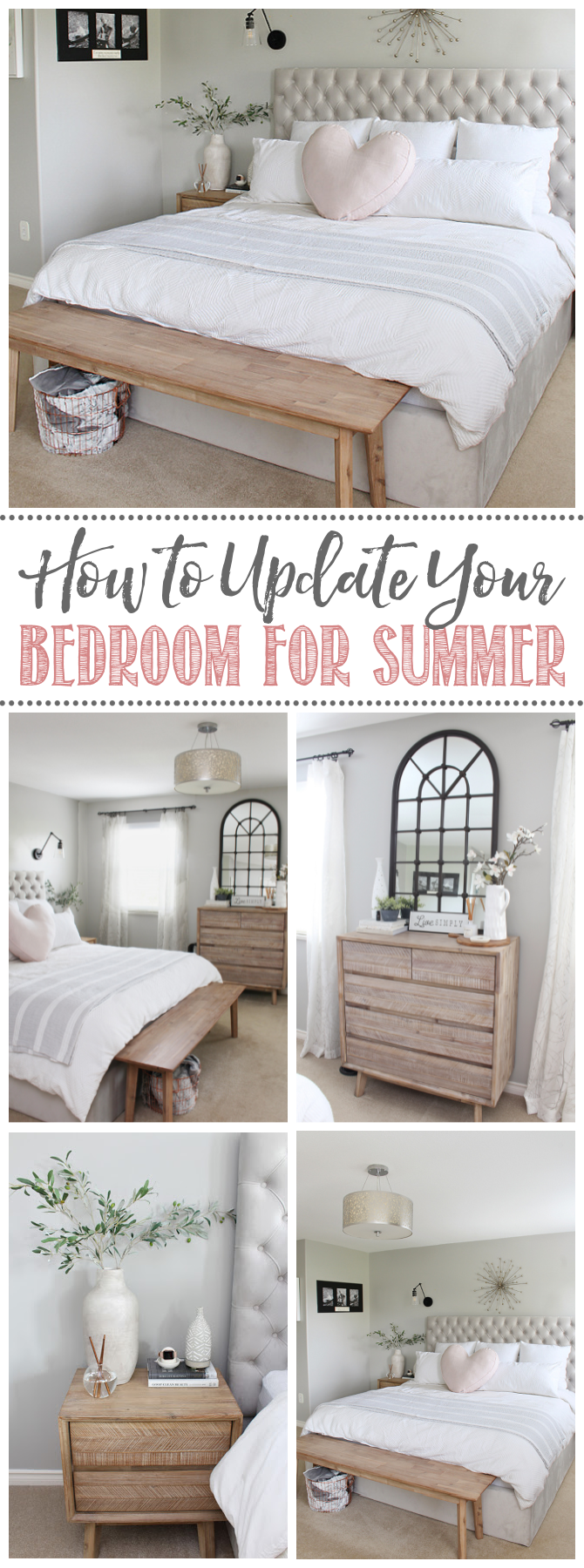 Collage of summer bedroom decor ideas.