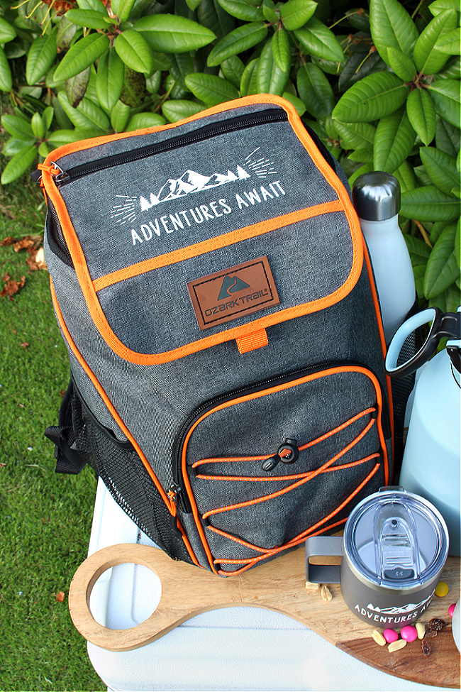 Personalized ice cooler camping backpack.