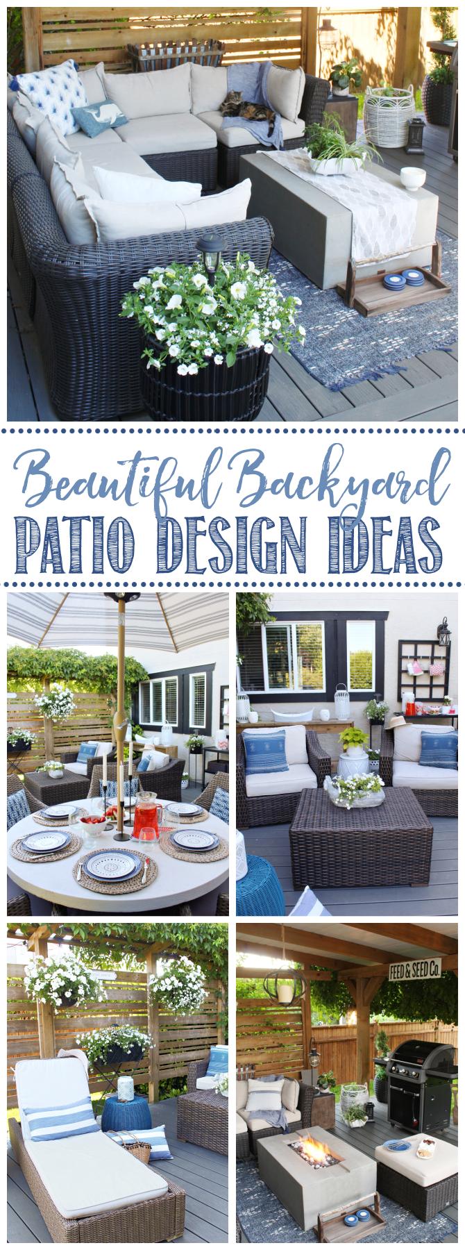 Collage of beautiful backyard patio ideas.