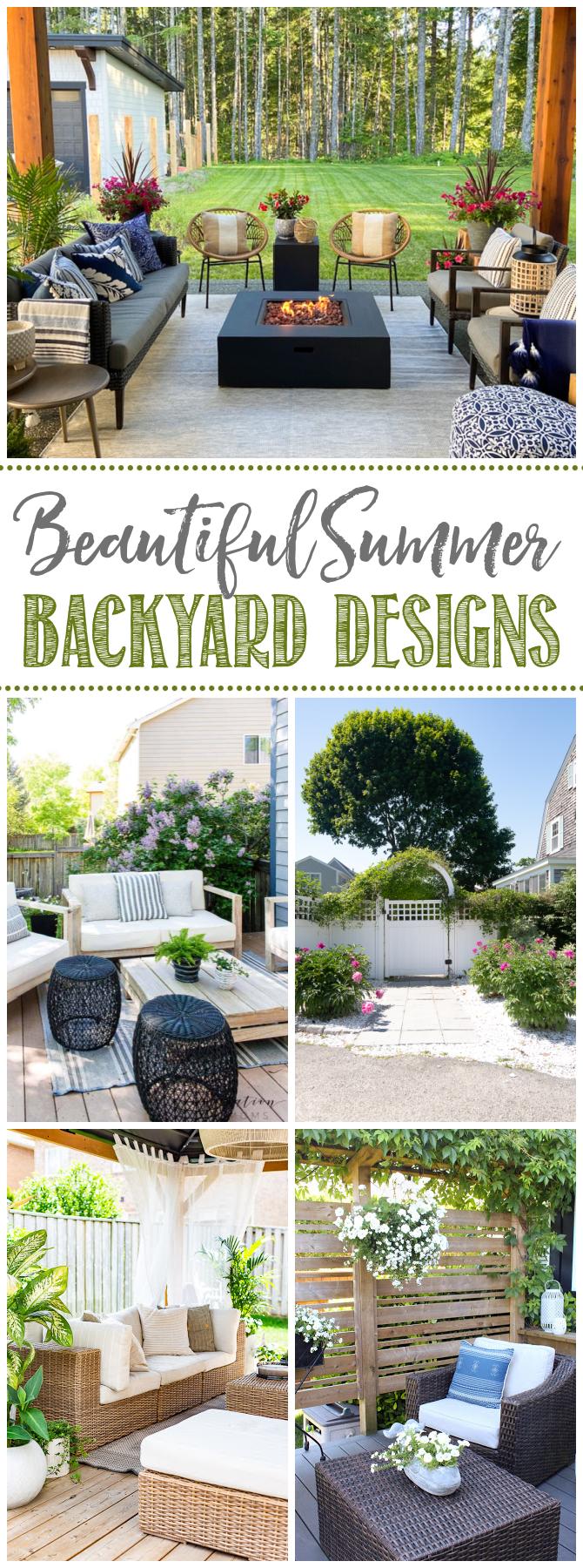 Collage of beautiful summer backyard design ideas.