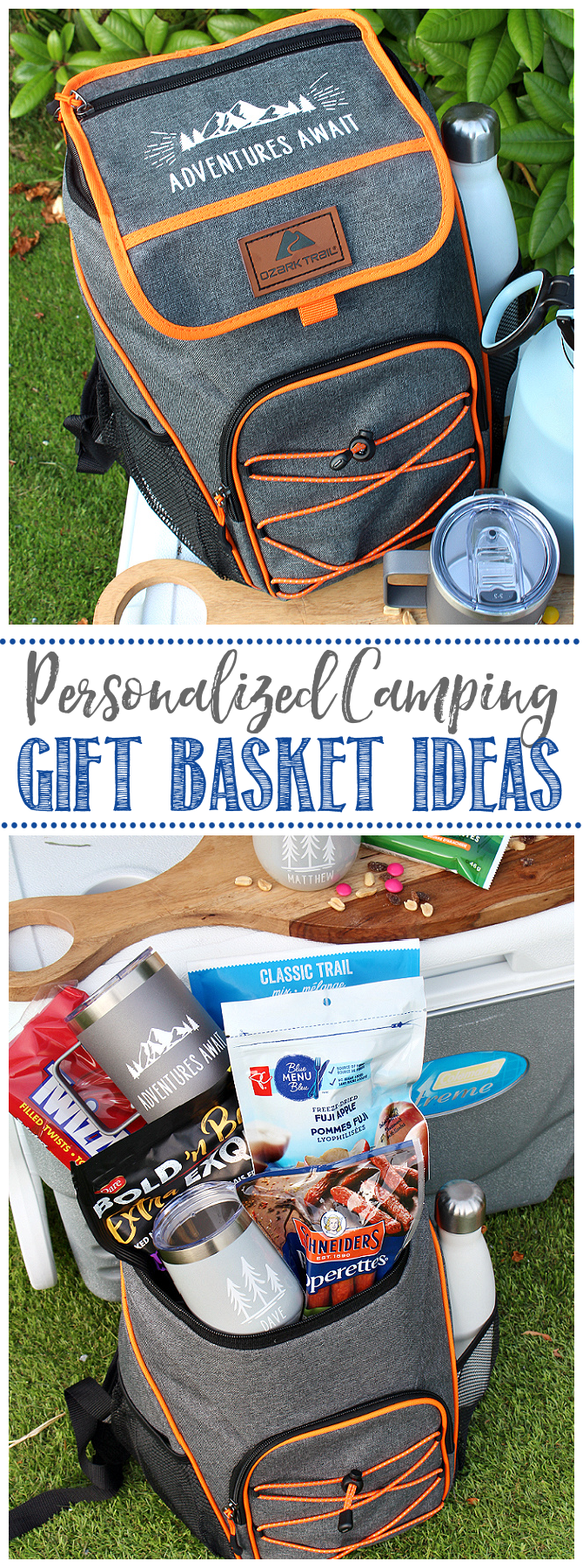 Personalized ice cooler backpack used for a camping gift basket.