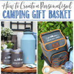 Collage of personalized camping gift basket ideas.