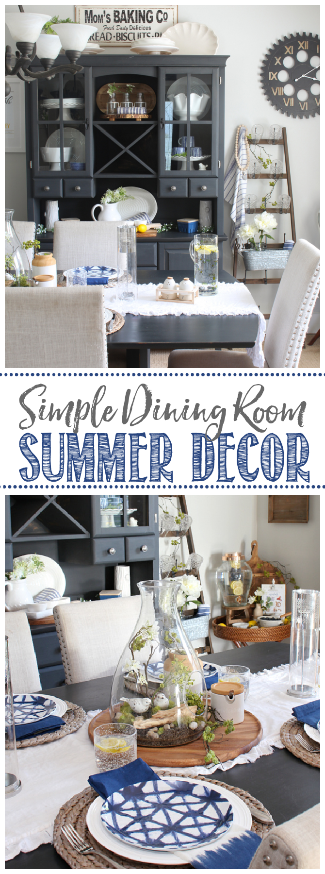 Farmhouse style dining room decorated with blues and greens for summer.