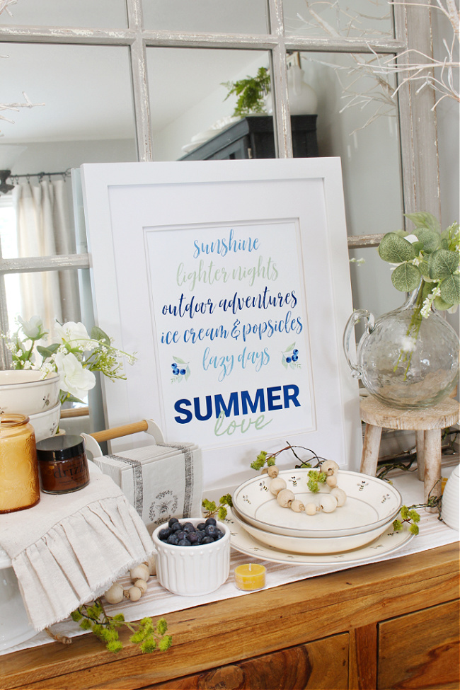 Summer Love free summer printable displayed in a white frame.