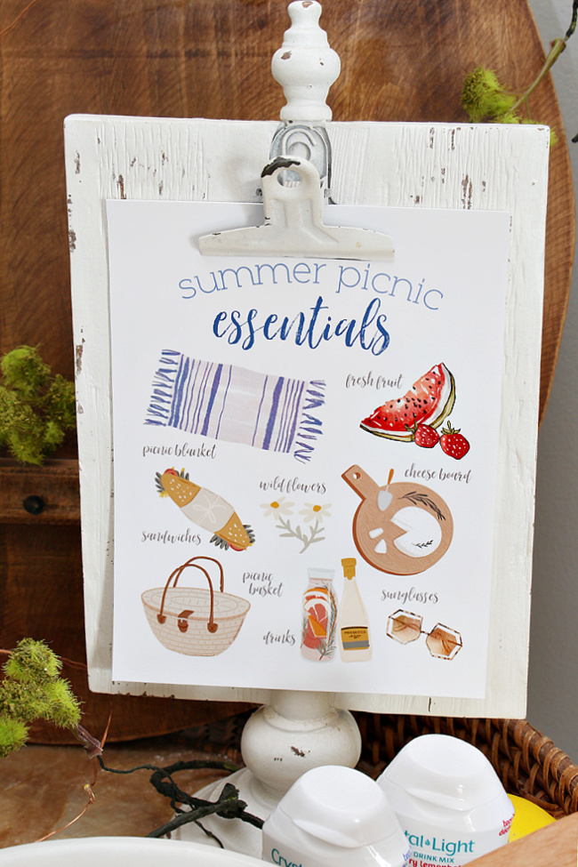 Summer Picnic Essentials free summer printables.