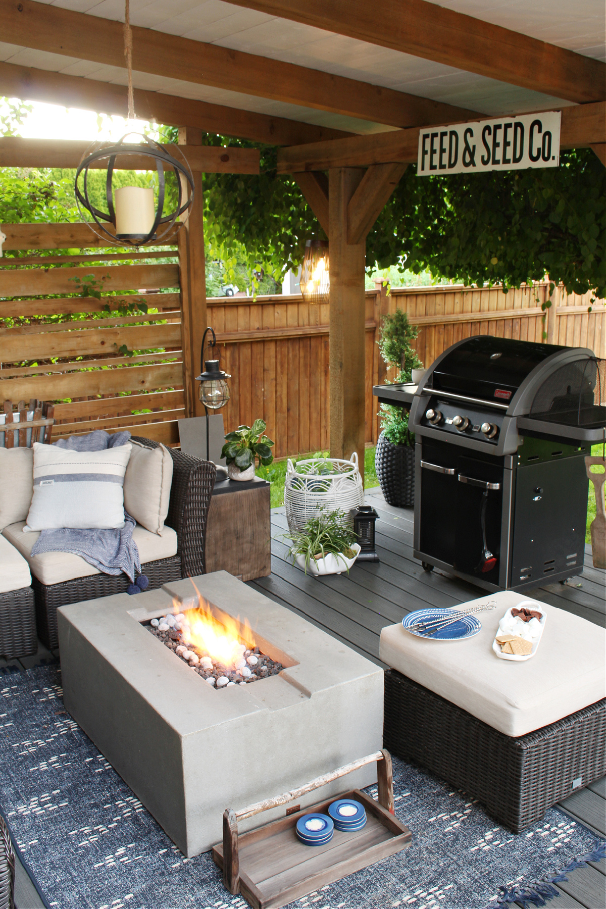 Covered backyard patio design with fire table.