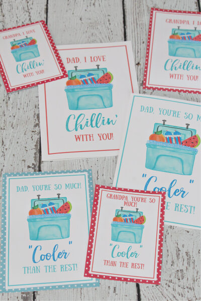 Free printable Father's Day cards with ice cooler theme.