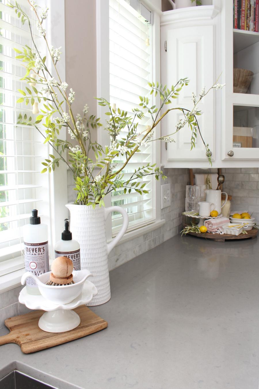 Simple summer kitchen decor in a white kitchen.