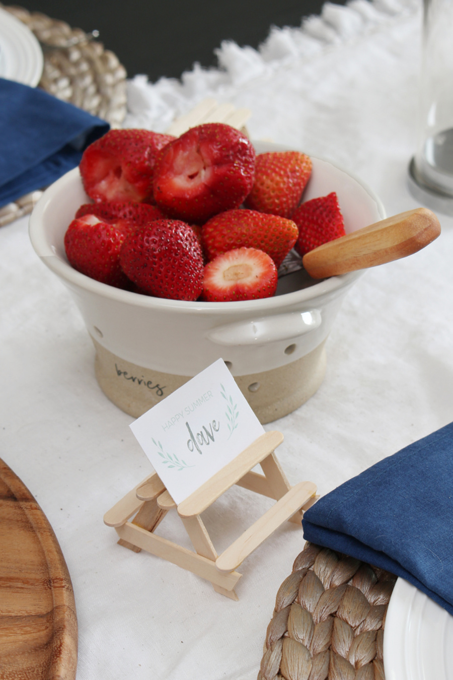 Cute popsicle stick picnic tables for food label holders.