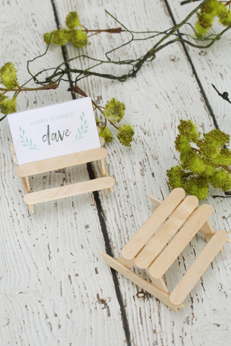 Cute popsicle stick picnic tables used as a place card holder.