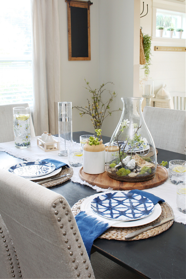 Summer tablescape in a farmhouse style dining room.