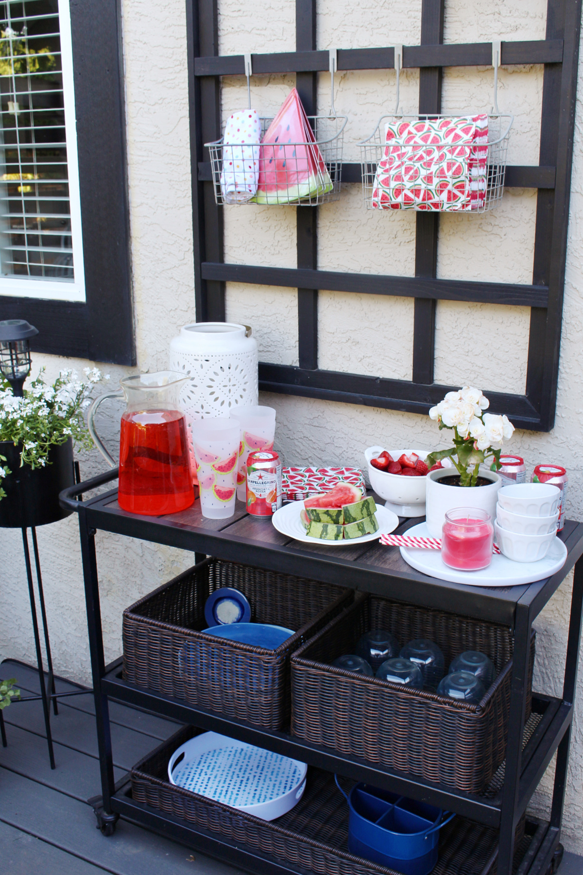 Beverage cart on a summer patio.